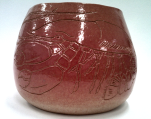 Coiled pot with lobster sgraffito decoration, Deb Langner, 2015